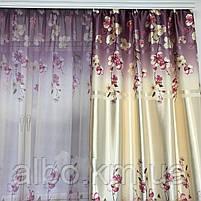 Штори з квітковим принтом в кімнату спальню зал, атласні штори для будинку кухні дитячої, штори і тюль з атласу для залу спальні, фото 7
