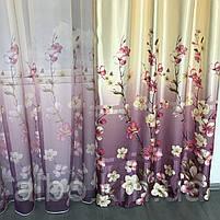 Штори з квітковим принтом в кімнату спальню зал, атласні штори для будинку кухні дитячої, штори і тюль з атласу для залу спальні, фото 8