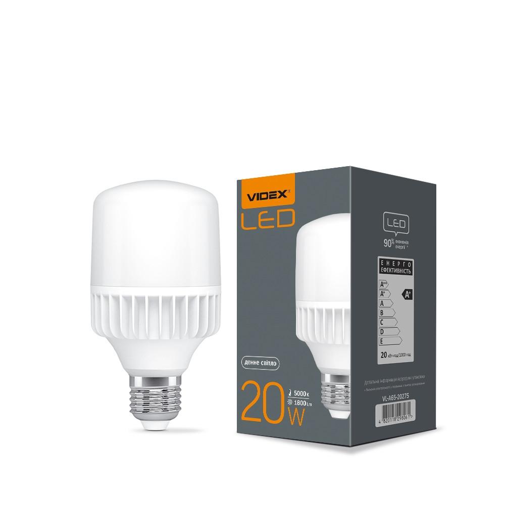 LED лампа VIDEX A65 20W E27 5000K 220V VIDEX, 25086