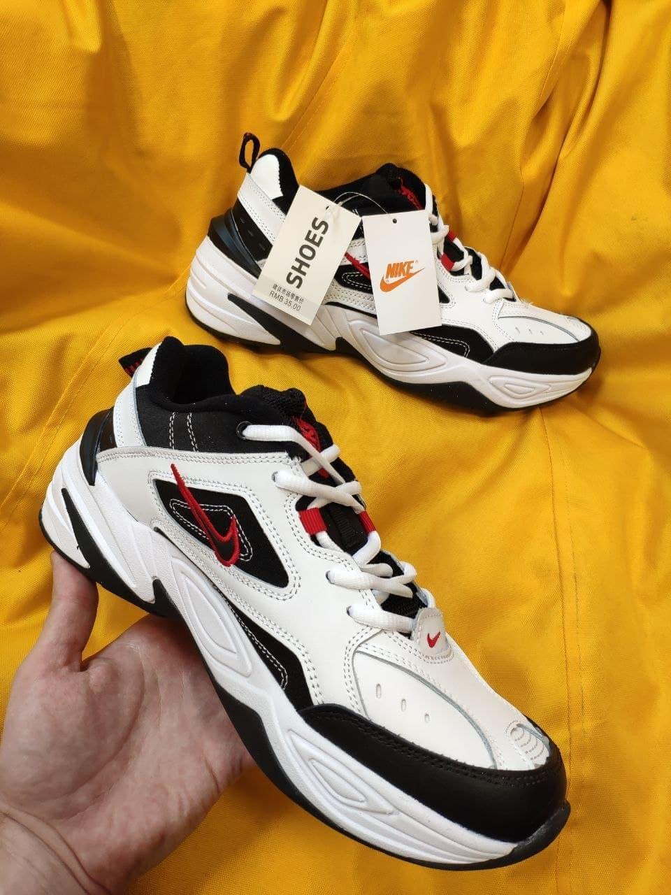 Мужские кроссовки Nike M2 Tekno (бело-черно-красные) модная весенняя обувь из кожи D93