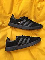 Мужские кроссовки Adidas Gazelle (Чёрные) D95 спортивные легкие кроссы
