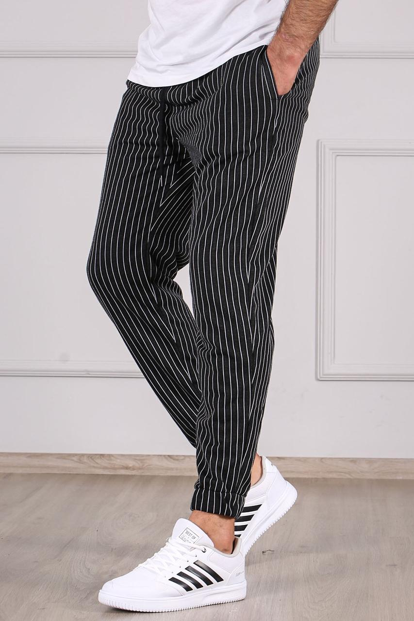 Чоловічі спортивні штани чорні смугасті Madmext
