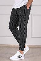 Чоловічі спортивні штани чорні смугасті Madmext, фото 1