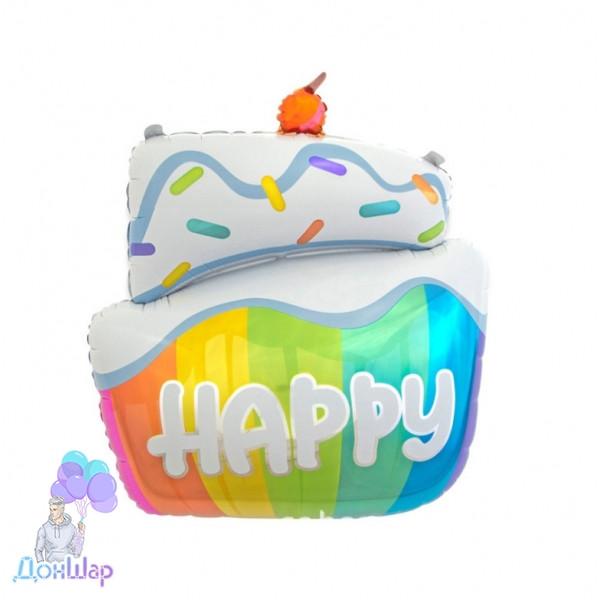 Шар фольгированный Пирожное Happy 58х87 см (Китай)