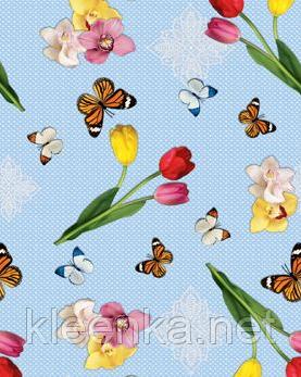 Скатерть - клеёнка  на стол Летние бабочки