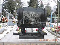 Памятник двойной из гранита с нанесением рисунка на тыльной стороне образец №8