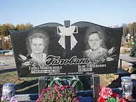 Горизонтальный двойной памятник с крестом из гранита образец №10