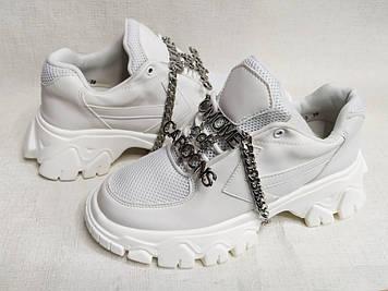 Кроссовки женские белые легкие с цепочкой