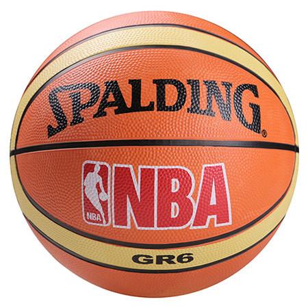 Мяч баскетбольный резиновый №6 Spalding оранжевый, полоса.