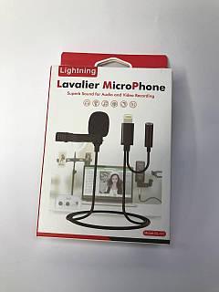 Петличный микрофон lavalier GL-141 Lightning для iPhone  iPad с дополнительным разъемом AUX Jack 3.5