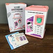 Детский сейф копилка Robot Bodyguard для денег розовый с кодом для детей ребенка музыкальная игрушка