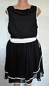 Платье большой размер, шифоновое, черное р.18(50/52)