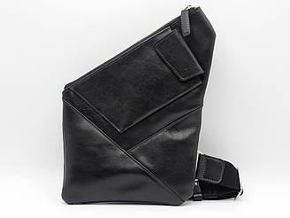 Стильная черная мужская сумка кабура из натуральной кожи для документов через плечо Grande Pelle
