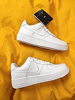 Женские кроссовки Nike Air Force Low White (белые) D100 крутые кожаные кроссы