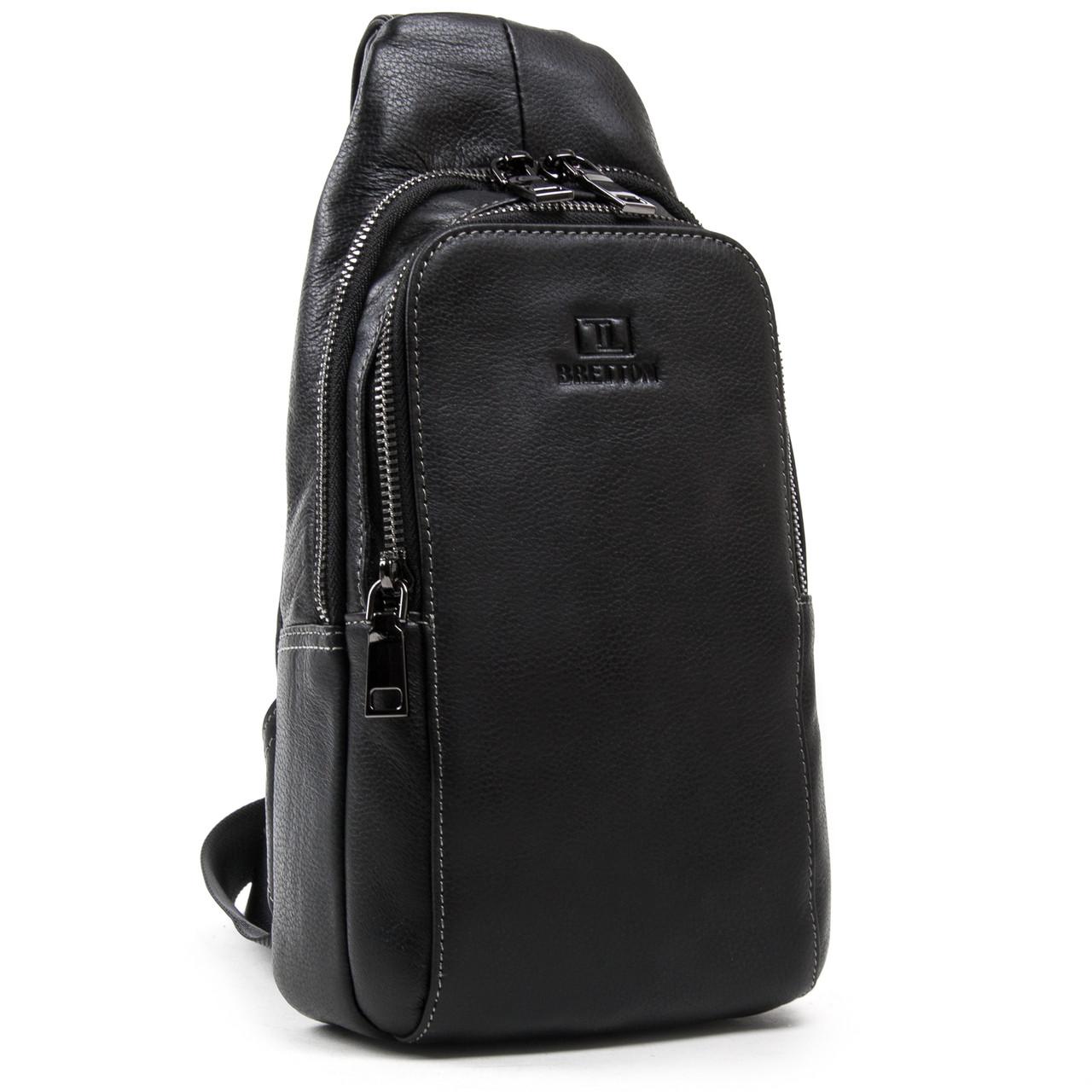 Рюкзак Міський шкіряний BRETTON BE 2002-3 чорна