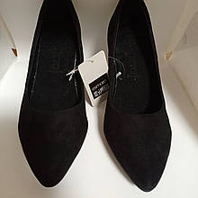 Замшевые туфли-лодочки на каблуке