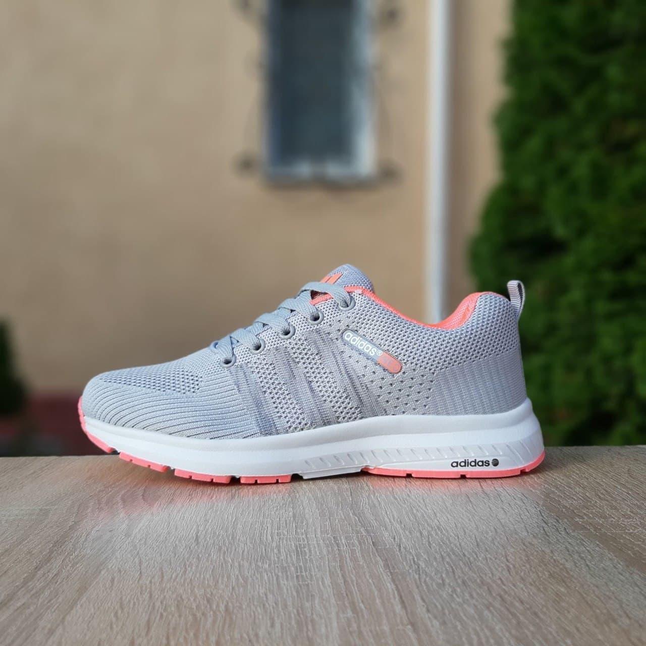 Женские кроссовки Adidas NEO (Серые с розовым) О20129 легкая модная обувь