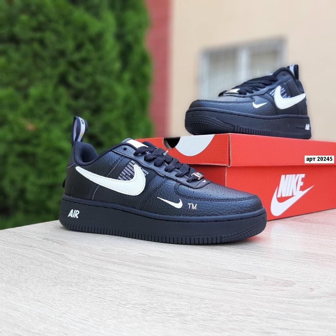 Женские кроссовки Nike Air Force 1 LV8 (чёрные с белым) O20245 качественные стильные кроссы