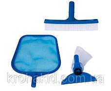 Комплект для чищення басейну Intex 29056 : сачок, щітка, вакуумна насадка, фото 2