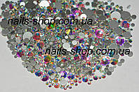 Камни Crystal AB микс размеров