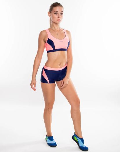 Раздельный спортивный купальник для бассейна Aqua Speed Fiona, топ и шортики, розовый с синим 34