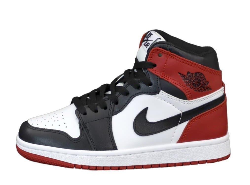 Женские кроссовки Nike Air Jordan 1 Retro (бело-черный с красным) К12276 повседневные качественные кроссы
