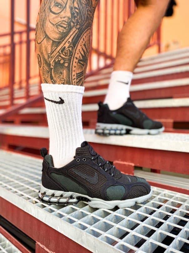 Женские кроссовки Nike x Stüssy Air Zoom Spiridon Cage 2 (черный) кроссы стильные в сеточку К7710