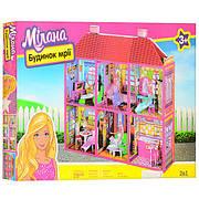 Игровой двухэтажный домик для кукол с мебелью на 6 комнат, размер домика 108,5-93-37 см 6983