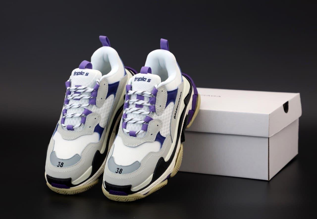 Женские кроссовки Balenciaga Triple S (белый с фиолетовым) К12144 кроссы с многослойной подошвой