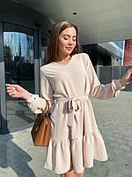 Женское стильное платье с поясом. Цвет: чёрный, беж, пудра. Размеры: 42-44, 46-48.