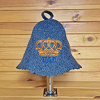 """Банная шапка G """"Царь"""" серая геотекстиль"""