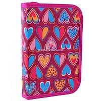 Пенал твердый Smart одинарный без клапана Hearts Style Розовый (532049)