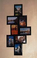 Деревянная эко мультирамка, коллаж #108 венге, орех, белый, чёрный., фото 1