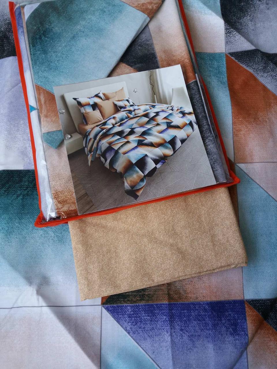 Постельное белье бязь голд люкс двухспальный с геометрическим узором.