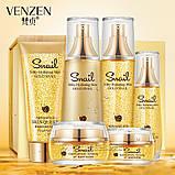 Подарунковий набір Venzen, з муцином равлика і нано-золотом, 6 засобів, фото 3