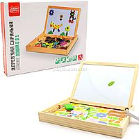 Интерактивная доска деревянная FUN GAME обучающая двусторонняя с магнитами, 3+ (82146)