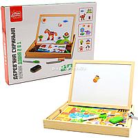 Интерактивная доска деревянная FUN GAME обучающая двусторонняя с магнитами, 3+ (99183)