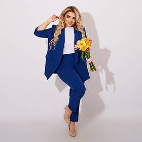 Стильный костюм тройка жакет блузка и брюки Большого размера Бутылка, Электрик, Марсал