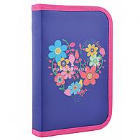 Пенал твердый одинарный Flowers Фиолетовый (531656)