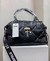 Жіноча стьобаний сумка Karl Lagerfeld Black | Тоут Карл Лагерфельд Чорна
