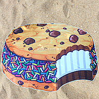 Пляжное покрывало-полотенце Пирожное для отдыха на песке или траве, 140*130 см (K14344)