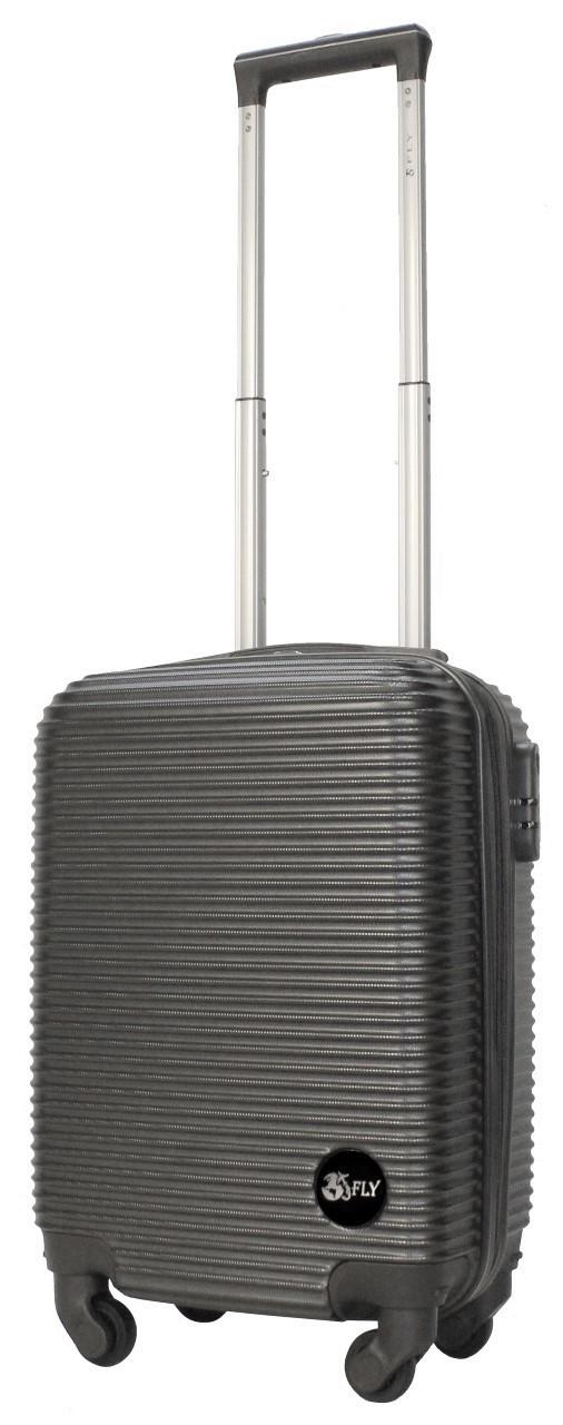 Валіза пластикова на 4х колесах міні   XS темно-сіра | 20х51х35 см | 2.400 кг | 27 л | FLY 91240