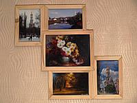 Деревянная эко мультирамка, коллаж #105 венге, орех, белый, чёрный., фото 1