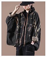 """Молодежная джинсовая куртка размера оверсайз  с руквом """"летучая мышь"""" IEQJ Alexika"""