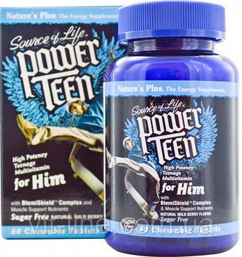 Nature's Plus Power Teen Витамины для мальчиков-подростков со вкусом лесных ягод, 60 жевательных таблеток