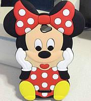 Резиновый 3D чехол для Sony Xperia E4 Minnie Mouse