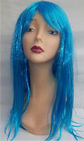 Парик карнавальный длинный голубой прямой с косичками