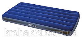 Надувной велюровый одноместный  матрас Intex 64757  размером  99х191х25см.