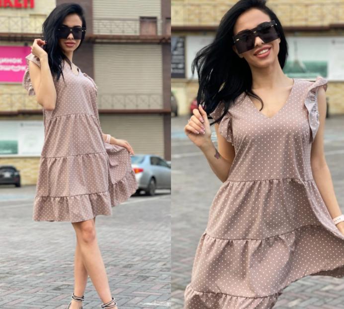 Платье летнее свободного кроя с рюшами в горошек VS1821