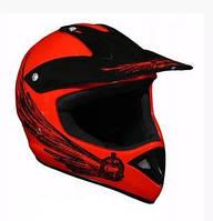Універсальний мотошолом каска для мотоцикла червоний з чорним Cross Enduro